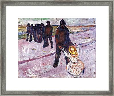 Worker And Child Framed Print
