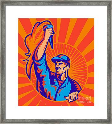 Worker Carrying Flaming Torch Sunburst Framed Print by Aloysius Patrimonio