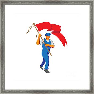 Worker Marching Flag Bearer Wpa Framed Print