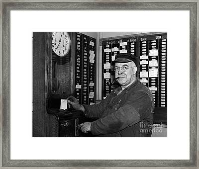 Worker Punching Time Card, C.1930s Framed Print