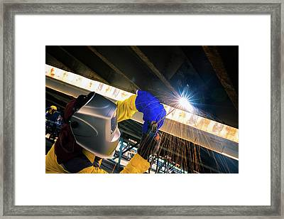 Worker Welding For Repair Bottom Side Of Container Box Framed Print
