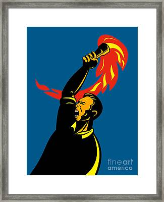 Worker With Torch Framed Print by Aloysius Patrimonio