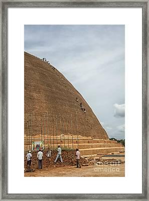 Workers Descending Temple Roof On Dangerous Steps Framed Print