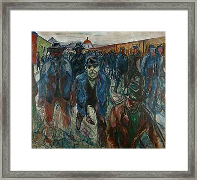 Workers On Their Way Home Framed Print by Edvard Munch