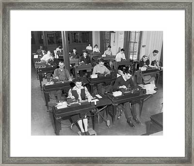 Workers Using Data Punch Cards Framed Print by Underwood Archives