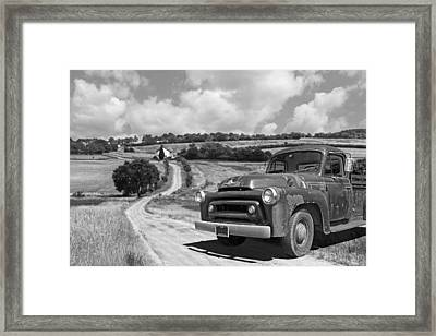 Down On The Farm- International Harvester In Black And White Framed Print