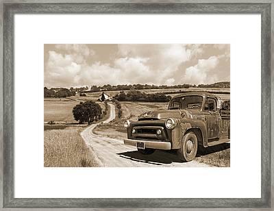 Down On The Fram - International Harvester In Sepia Framed Print