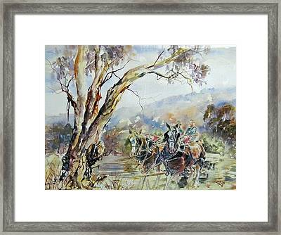 Working Clydesdale Pair, Australian Landscape. Framed Print