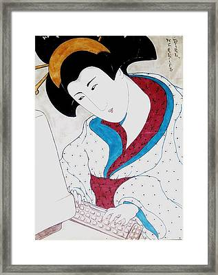 Framed Print featuring the greeting card Working Girl by Rae Chichilnitsky