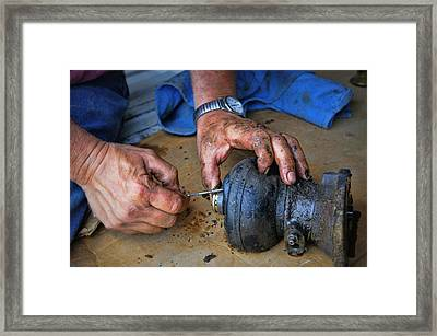 Working Hands Framed Print by Cricket Hackmann