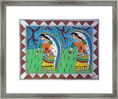 Working In Farms Madhubani Painting Framed Print by Aboli Salunkhe