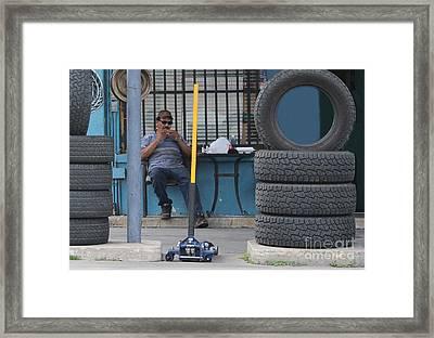Working Lunch Framed Print by Joe Jake Pratt