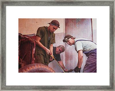 Framed Print featuring the photograph Working On Classic Cars Havana Cuba by Joan Carroll