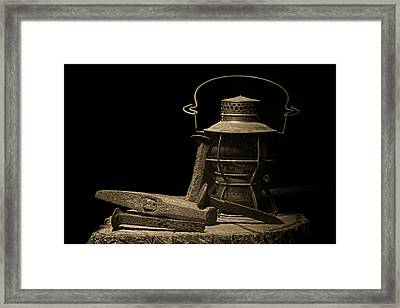Working On The Railroad Still Life Framed Print by Tom Mc Nemar