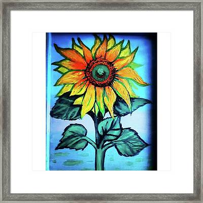 Working On This Sunflower. #sunflower Framed Print by Genevieve Esson