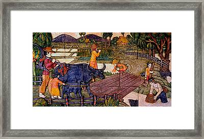 Working Our Farm - Ceramic Tiles Framed Print by Ian Gledhill