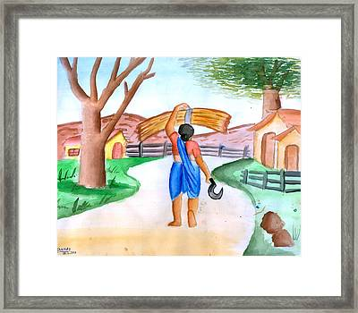 Working Woman Returning Home Framed Print by Tanmay Singh