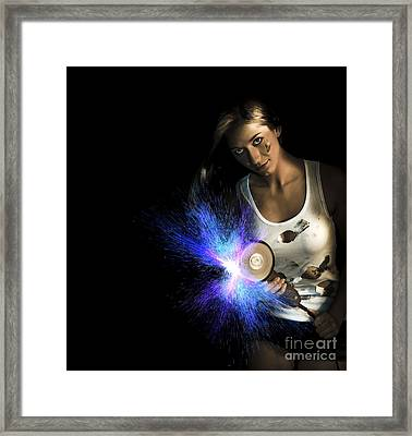 Working Woman With Industrial Tools Framed Print by Jorgo Photography - Wall Art Gallery