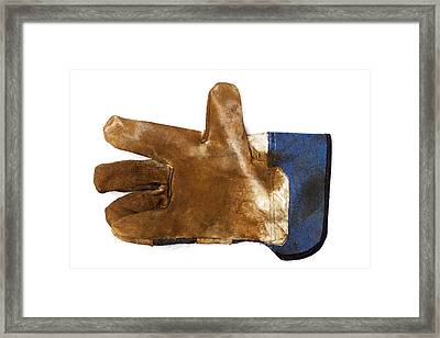 Workman's Leather Glove Isolated On White Framed Print
