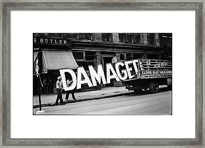 Workmen Hauling Damaged Sign Walker Evans Photo New York City 1930 Color Added 2008 Framed Print