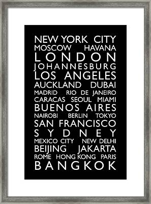 World Cities Bus Roll Framed Print by Michael Tompsett