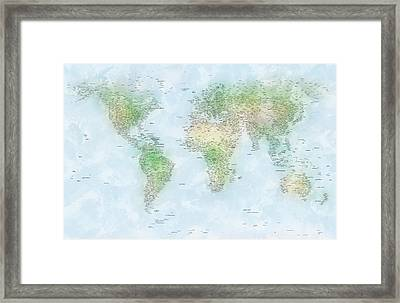 World Cities Map Framed Print by Michael Tompsett