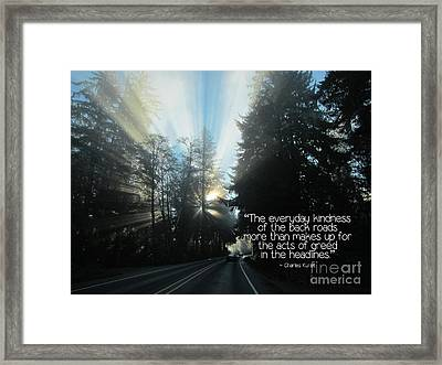 Framed Print featuring the photograph World Kindness Day by Peggy Hughes
