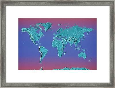 World Land Mass Map Framed Print by Vladimir Pcholkin