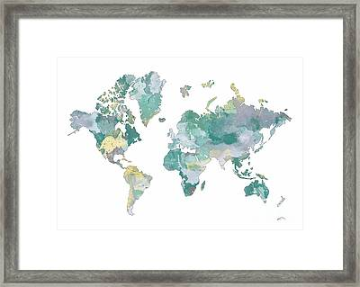 World Map 11 Watercolor Framed Print