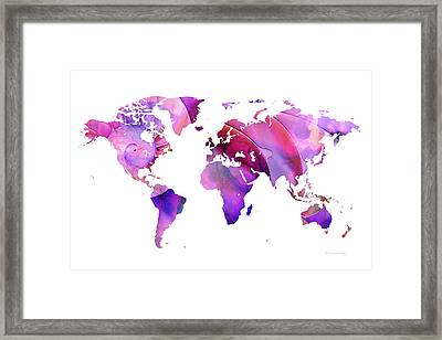 World Map 20 Pink And Purple By Sharon Cummings Framed Print by Sharon Cummings
