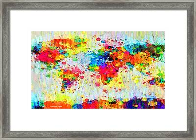 World Map Abstract 3 - Pa Framed Print by Leonardo Digenio