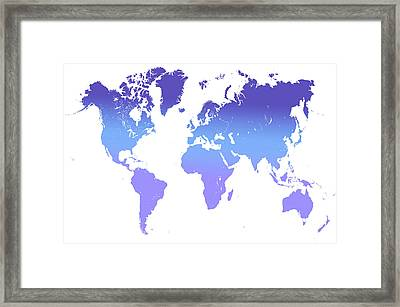 World Map Abstract. Blue Purple Framed Print by Jenny Rainbow