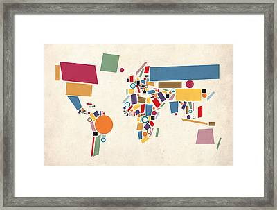 World Map Abstract Framed Print by Michael Tompsett