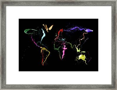World Map Abstract Paint Framed Print by Michael Tompsett