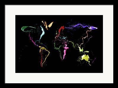 Planet Map Digital Art Framed Prints
