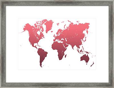 World Map Abstract. Pink Framed Print by Jenny Rainbow
