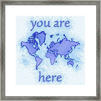 World Map Airy You Are Here In Blue And White Framed Print by Eleven Corners