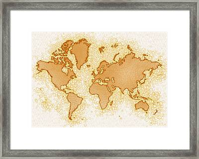 World Map Airy In Brown And White Framed Print by Eleven Corners