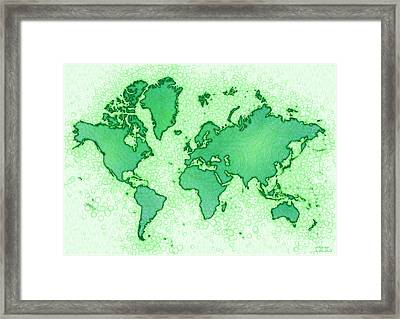 World Map Airy In Green And White Framed Print by Eleven Corners