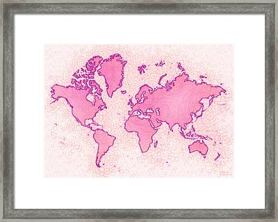World Map Airy In Pink And White Framed Print by Eleven Corners