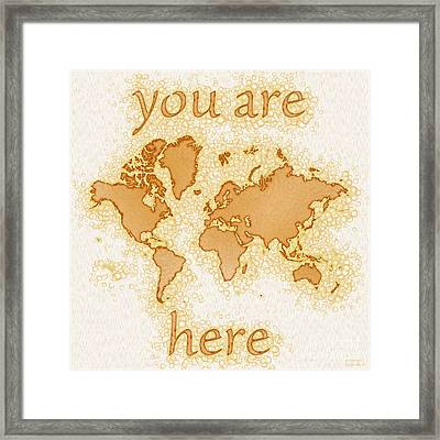 World Map Airy You Are Here In Brown And White  Framed Print by Eleven Corners
