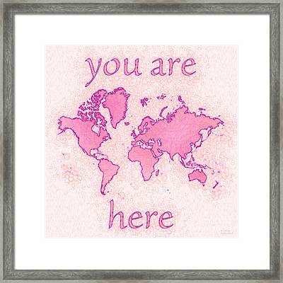 World Map Airy You Are Here In Pink And White Framed Print by Eleven Corners
