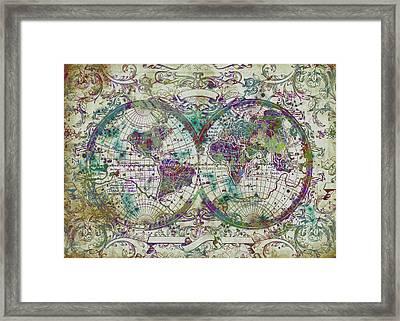 World Map Antique 13 Framed Print