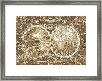 World Map Antique 3 Framed Print
