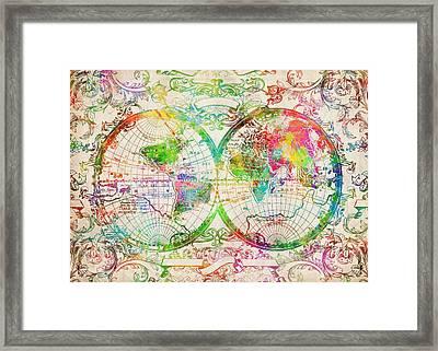 World Map Antique 9 Framed Print