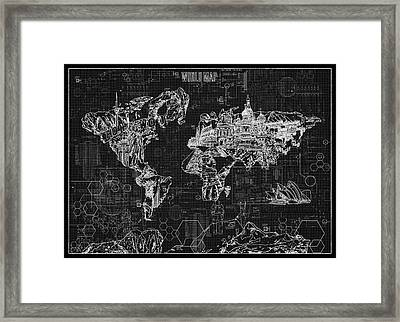 Framed Print featuring the digital art World Map Blueprint 2 by Bekim Art
