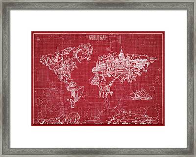 Framed Print featuring the digital art World Map Blueprint 3 by Bekim Art