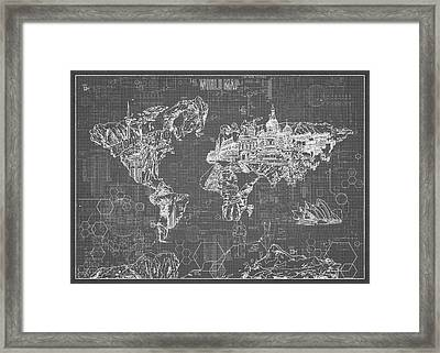 Framed Print featuring the digital art World Map Blueprint 5 by Bekim Art