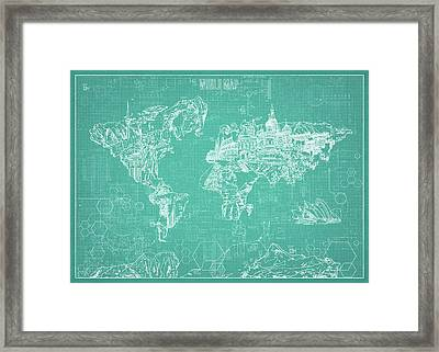 Framed Print featuring the digital art World Map Blueprint 7 by Bekim Art