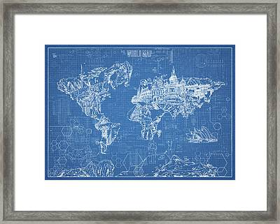Framed Print featuring the digital art World Map Blueprint by Bekim Art